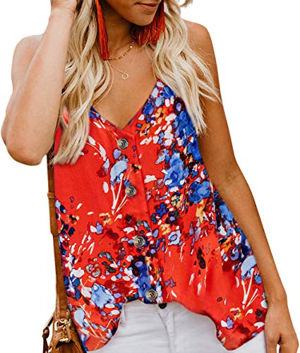 Fancyskin Womens Summer Floral Sleeveless Tops Shirts Button Up V Neck Spaghetti Strap Fashion Blouses Orange,Medium