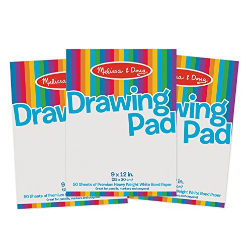 Melissa & Doug Drawing Paper Pad (9 x 12 inches) - 50 Sheets, 3-Pack (Display Watercolor)