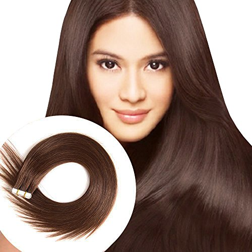 Tape in Human Hair Extensions 20 Inch 40pcs 100g/pack Silky Straight human Hair Extensions Medium Brown (20inch/40pcs, 4)