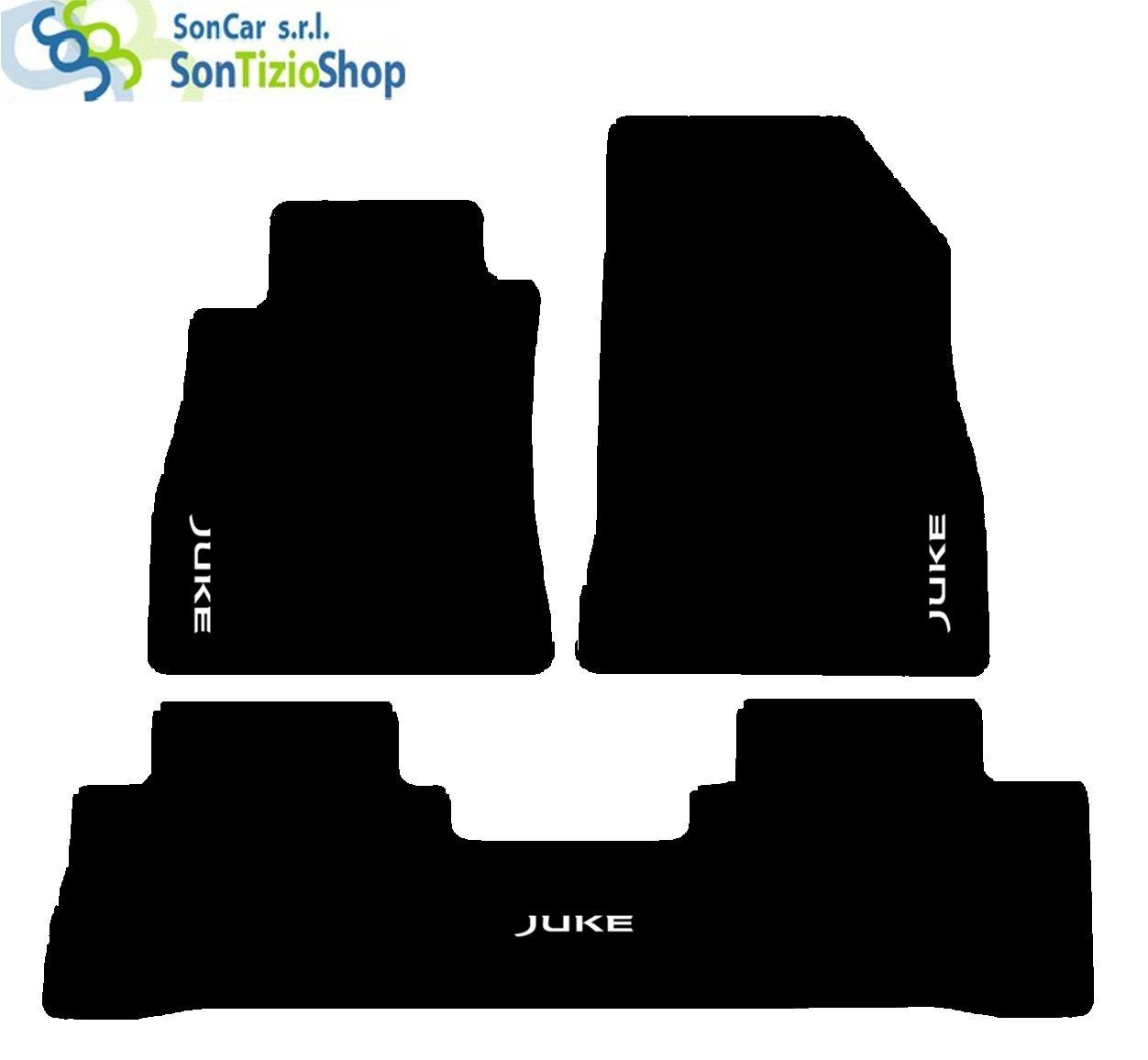 SonCar Tapis Noirs Pour Voiture Kit Complet De Tapis En Moquette Et De L/'Artisanat Sur Mesure Tapis Fil Avec Broderie Juke Arri/ère Complet Blanc