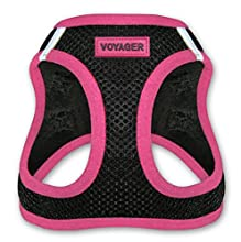 "Voyager Step-In Air Dog Harness - All Weather Mesh, Step In Vest Harness for Small and Medium Dogs by Best Pet Supplies - Pink, Medium (Chest: 16"" - 18"")"
