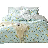Soft Cute Cartoon Banana Print Duvet Cover Twin Bed Set Cotton 100 Percent Kids Reversible Polka Dot Bedding Sets for Girls Boys Teen Adults Children Lightweight Breathable Home Textile, Style 01