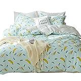 ORoa Kids Soft Cute Cartoon Banana Bedding Duvet Cover Queen Full Bed Set for Kids Girls Boys Teen Adults Cotton 100 Percent,Children Polka Dot Bedding Sets Full Size Reversible Lightweight, Style 01