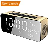 Orionstar Alarm Clock Radio, Office Radio,Bluetooth Alarm Clock,Digital Alarm Clock 9.4″LED Display with Dimmer, Wireless Speaker for iPhone,Android,Echo Dot,PC4/Aux/MicroSD/TF/USB, Model A10 Gold