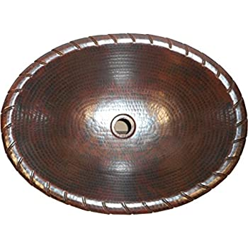 This Item 19 Oval Drop In Copper Bathroom Sink With Decorative Rope Rim