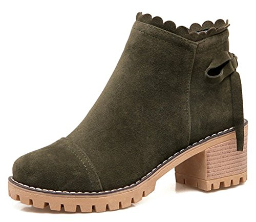 Aisun Womens Casual Inside Zip Up Block Mid Heel Booties Dressy Round Toe Ankle Boots Shoes With Bows Olive