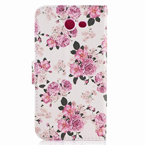 Yiizy Samsung Galaxy J3 Prime Custodia Cover, Piccola Rosa Design Sottile Flip Portafoglio PU Pelle Cuoio Copertura Shell Case Slot Schede Cavalletto Stile Libro Bumper Protettivo Borsa