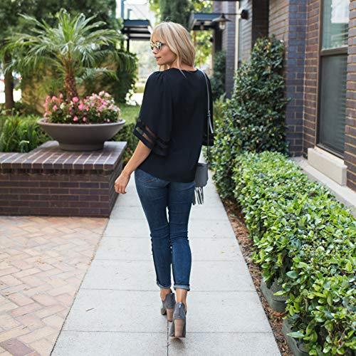 Amaryllis Apparel Women's Mesh-Inset Bell-Sleeve V-Neck Blouse   100% Polyester