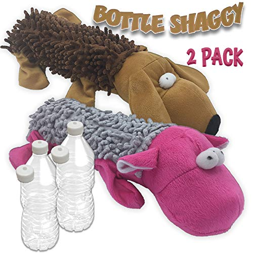 Bottle Shaggy Amazing Pet 2 Pack Crackles and Squeaks Water Bottle Toy with Replacement Squeakers 1 Hippo and 1 Dog -