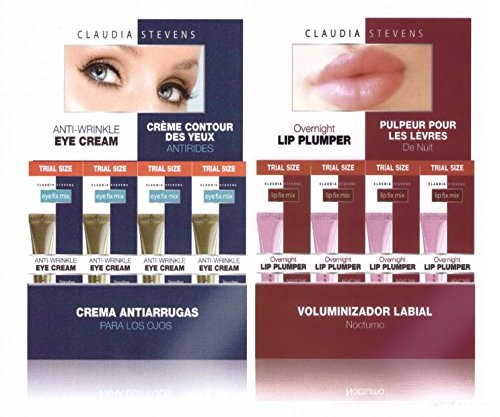 Claudia Stevens Eye Fix Mix Eye Cream & Lip Fix Mix Lip Plumper Trial Size Combo Pack - 4 of Each! (8 Total!)