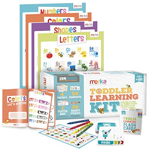 merka Toddler Learning Kit - Includes 4 Posters, 58 Flashcards, 58 Practice Book Exercises and 36 Reward Stickers - Learn Letters, Colors, Shapes and Numbers - PreK & K ()