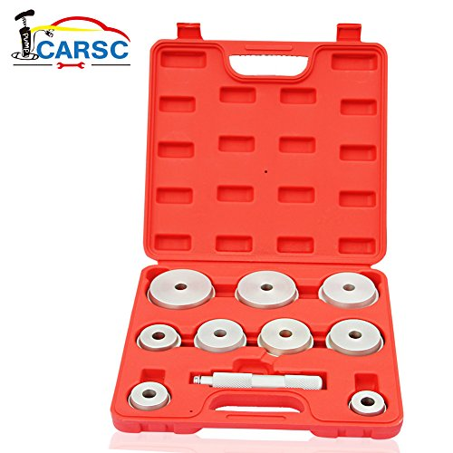 10 Piece Auto (10 Piece Bearing Race and Seal Driver Master Set – 9 Disc Sizes for Replacing Bearing Races and Seals on Cars, Trucks, Motorcycles and More)