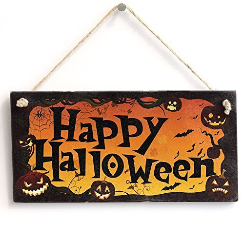 AMELIA SHARPE New Hanging Sign Gift Happy Halloween Wall Decor 12 x 8ative Wood Sign Plaque for House Decor 12 x 8 -