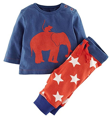 3 Piece Long Sleeve Jumper - Jojobaby Boys 2 Pieces Pullover Sweatshirt Casual Cotton Long Sleeve T Shirts (3 T, Elephant)