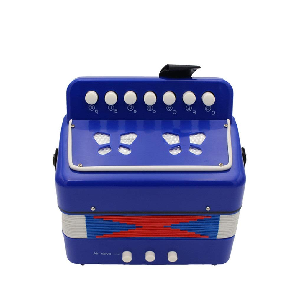 Accordion 7 Keys 2 Bass Mini Kids Accordion with Straps Music Instruments for Beginners Students Small Educational Instrument Band Toys Children's Gift (Color : Blue, Size : 180180100mm)
