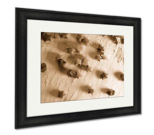Ashley Framed Prints Multicolored Paper Stars On A Wooden White, Wall Art Home Decoration, Sepia, 26x30 (frame size), Black Frame, AG6571951 (Decorations Catalog Seasonal)