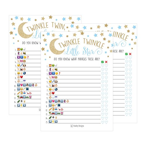 25 Twinkle Twinkle Emoji Pictionary Baby Shower Games Ideas For Men, Women, Kids, Boys, and Couples, Cute Shower Party Bundle Set, Gold Blue Gender Neutral Unisex Fun Coed Adult Funny Guessing Cards