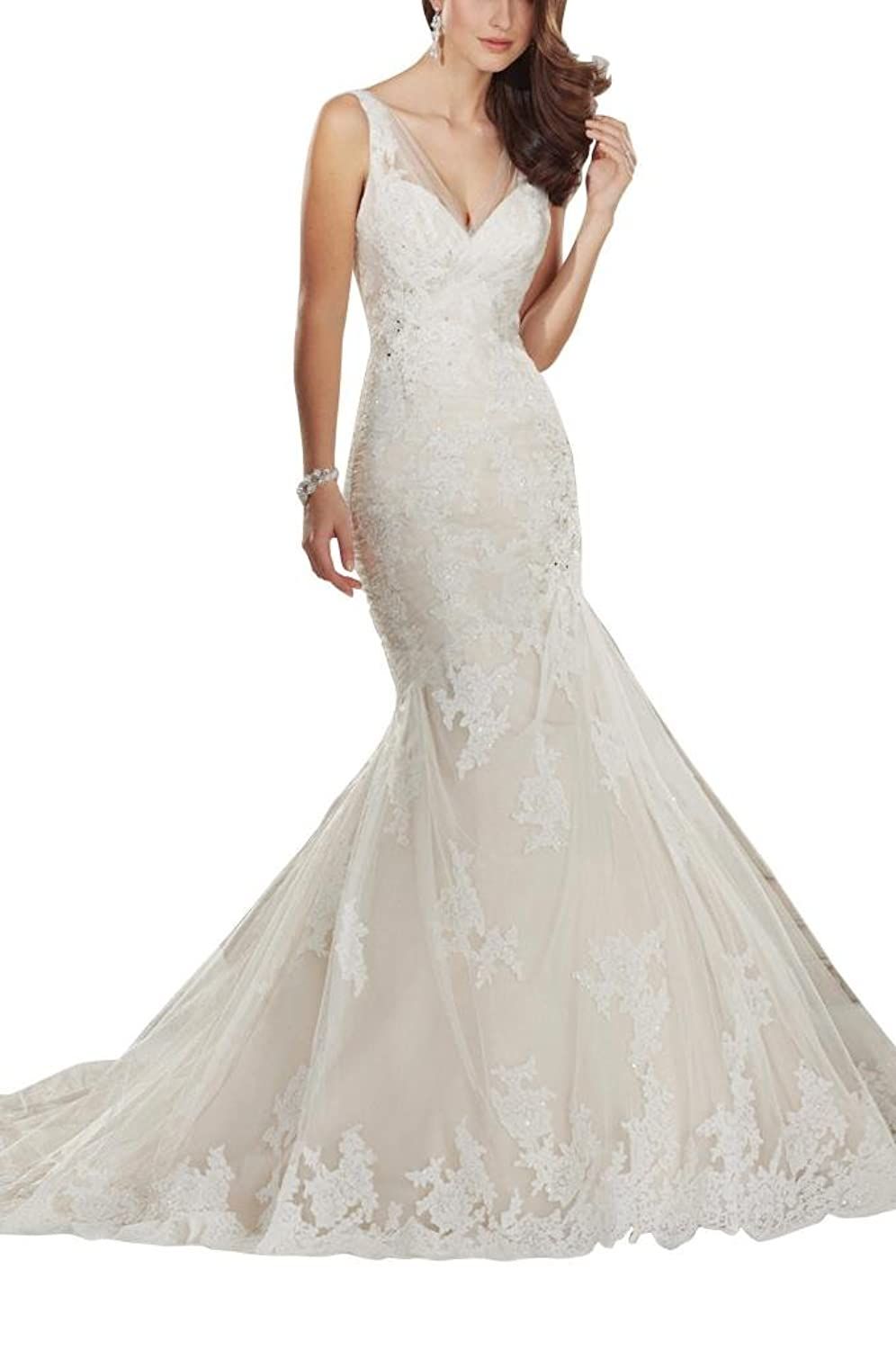 GEORGE BRIDE Deep V Neckholder lace yarn wedding dresses