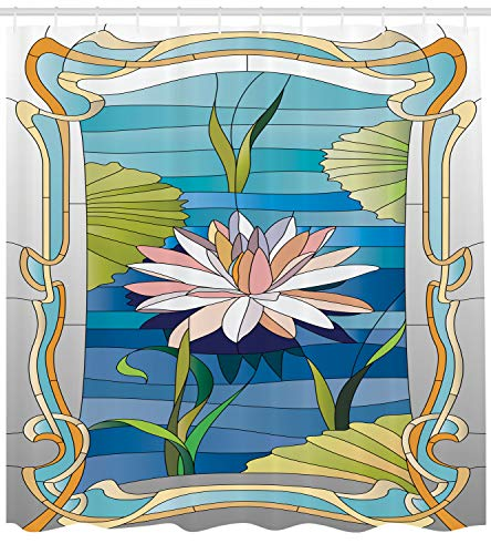 Ambesonne Art Nouveau Shower Curtain, Lotus on The Water Baroque Avant Garde Stylized Classic Architecture Pattern, Cloth Fabric Bathroom Decor Set with Hooks, 84 inches Extra Long, Multicolor