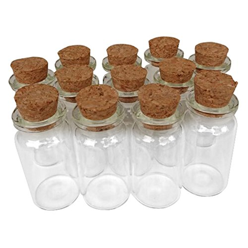 Axe Sickle 24PCS 10ml Cork Stoppers Glass Bottles,DIY Decoration Mini Glass Bottles Favors,Mini Vials Cork,Message Glass Bottle Vial Cork,Small Glass Bottles Jars Corks for Wedding Party Favors.