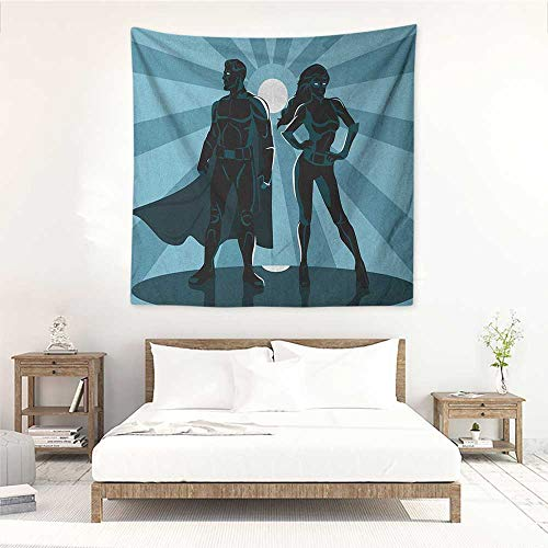 Willsd Superhero DIY Tapestry Man and Woman Superheroes Costume with Masks Capes Night Protector in Moonlight Living Room Background Decorative Painting 47W x 47L INCHBlue Teal -