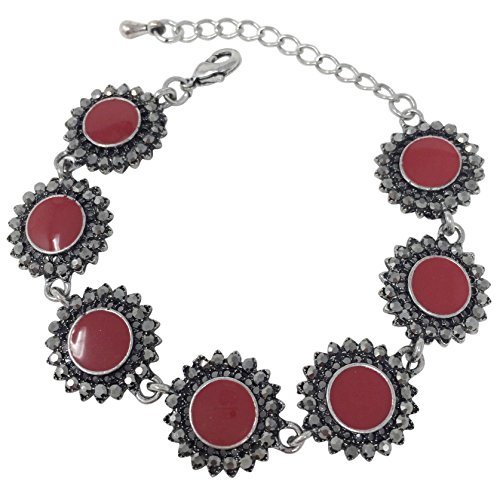 Wood Chunky Vintage (Gypsy Jewels Vintage Look Hematite Grey Rhinestone Silver Tone Unique Clasp Bracelet - Assorted Colors (Red Round Dots))