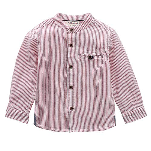 - MOMOLAND Little Boys Long Sleeve Mandarin Collar Woven Button Down Shirt Linen Design White Red (4Y, White/Red Stripes)