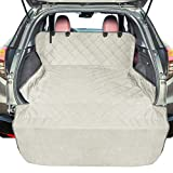 F-color Pet Cargo Liner for SUV, Waterproof Pet Cargo Cover Dog Seat Cover Mat for SUVs Sedans Vans with Bumper Flap Protector, Non-Slip, Large Size Universal Fit, Beige