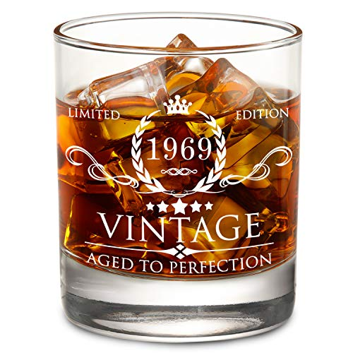 1969 50th Birthday Gifts for Men and Women Lowball Whiskey Glass - Vintage Funny Anniversary Gift Ideas for Mom, Dad, Husband, Wife - 50 Years Gifts, Party Favors, Decorations for Him or Her - 11oz -