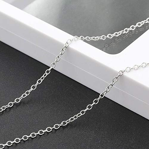 (SHOUSHI Women's Simple 925 Silver O-Type Plated Necklace 925 Wild Sweater Chain Long Autumn Winter Pendant Cross Chain, Platinum Cross Sweater Chain)