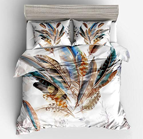 Abojoy Feathers Boho Chic Bedding Rustic Floral Mandala Duvet Cover Set Queen Size, Bohemian Native American Symbol Colorful Decorative 3 Piece Bedding Set with 2 Pillow Shams(King, Style1) (Moroccan Sets Bed)