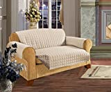 Elegant Comfort QUILTED REVERSIBLE FURNITURE PROTECTOR for Pet Dog Children Kids with TIES TO PREVENT SLIPPING OFF Cream/Taupe Sofa Size