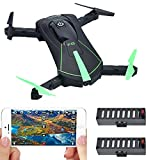 4th of July Deal! Contixo F8 Foldable Pocket Size Selfie Drone Voice Controls 720P HD WiFi Live FPV Video Camera 360 Stunts 8-10min Fly Time Gravity Control 2 Batteries - Best Gift