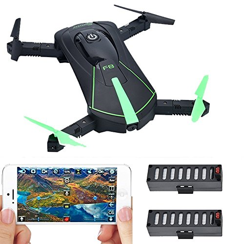 PRESIDENT'S DAY SALE! Contixo F8 Foldable Pocket Size Selfie Drone Voice Controls 720P HD Wifi Live FPV Video Camera 360 Stunts 8-10min Fly Time Gravity Control 2 Batteries - Best Gift