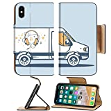 aroma 996 - Liili Premium Apple iPhone X Flip Pu Leather Wallet Case IMAGE ID 33612422 Vector illustration of van free and fast delivering headphones to customer on blue background Lin