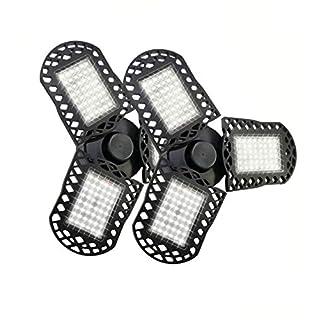 2 Pack LED Garage Lights, 60W Deformable LED Garage Ceiling Lights with 3 Adjustable Wings, 6000LM, E26 LED Shop Light for Warehouse, Workshop, Basement (No Motion Detection) (2 Pack, 60W)