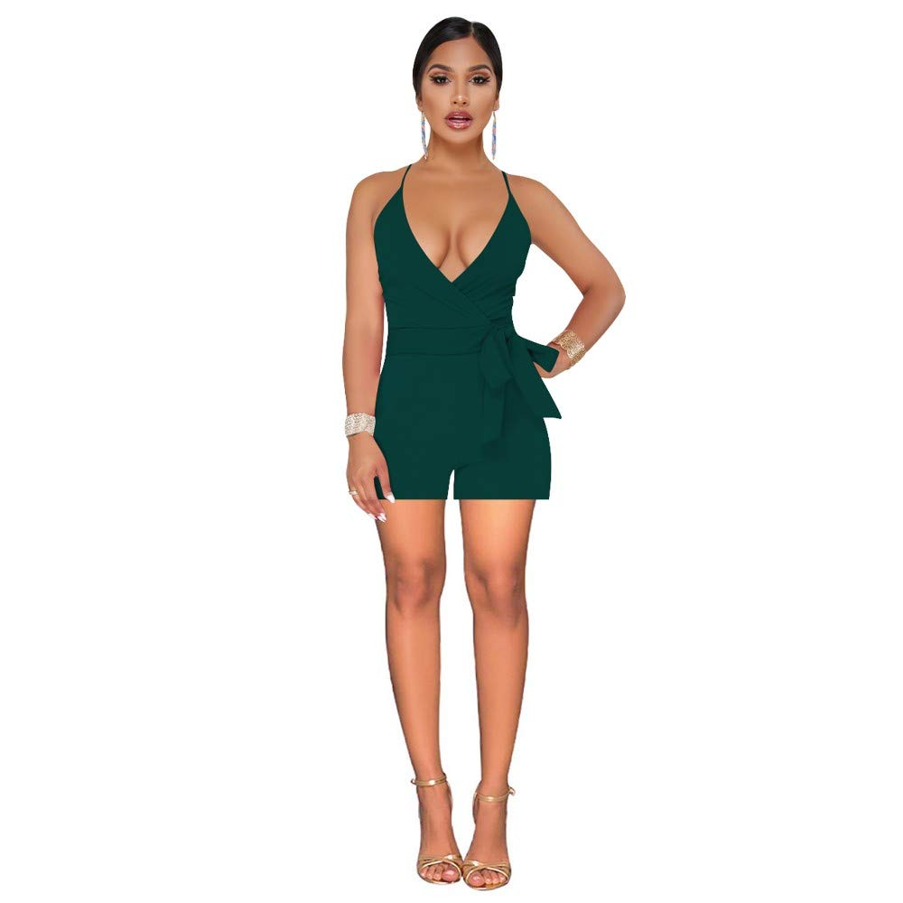 ArmyGreen MCO%SISTSR Women's Jumpsuits & Rompers,Women's Spring and Summer OnePiece Shorts Fashion Elegant Sexy Deep VNeck Sling Jumpsuit, Black, S