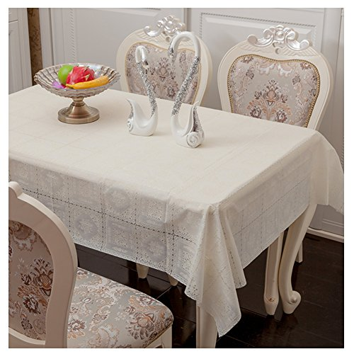 Freetophome Rectangle Plastic Tablecloth,Stain Resistant,Water Clean Easy for Wedding Birthday Thanksgiving Mothers Day and Fathers Day Party,White Pear Flower(Oblong 70''x50'') 50' Spring