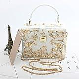 Sample9 Fashion Women Flowers Carved Hollow Lock Handbag Shoulder Bag Evening Bags White