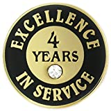 PinMart's Gold Plated Excellence in Service Enamel Lapel Pin w/ Rhinestone - 4 Years