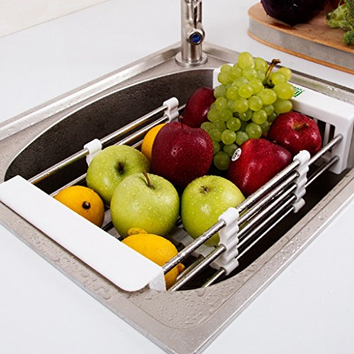 Sink Rack Kitchen Drainer 304 Stainless Steel Dish Shelf Adjustable Expandable Utensil Racks Organizer Storage Unit Gadgets 28.522.5cm by Storage Racks