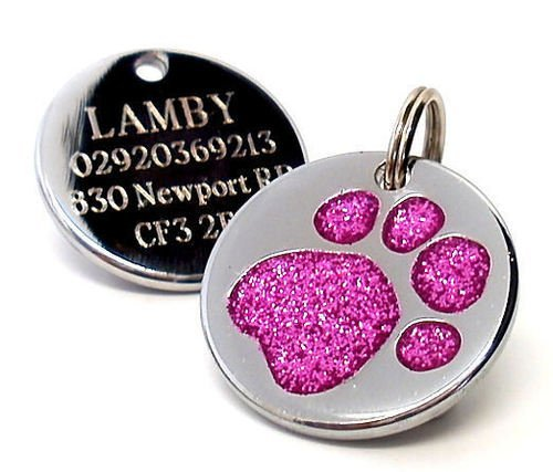Personalised Engraved 25mm Glitter Pink Paw Print Dog Pet ID Tag Disc