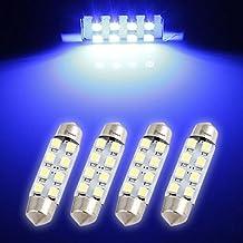 "Zone Tech 4pcs 42mm 8-smd 1.72"" 12v Festoon Dome Light LED Bulbs 211-2 212-2 569 578 - Blue"