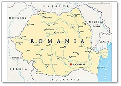 Amazon.com: Romania Political Map With Capital Bucharest ...