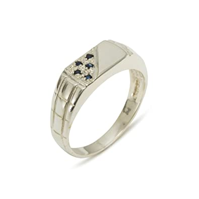 925 Sterling Silver Natural Sapphire Mens Band Ring Sizes 4 to 12 Available