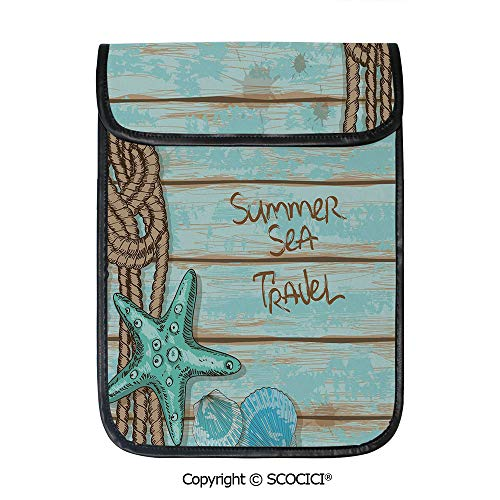 SCOCICI iPad Pro 12.9 Inch Sleeve Tablet Protective Bag Summer Sea Travel Retro Boards of Ship Deck Rope Scallops Decorative Custom Tablet Sleeve Bag Case
