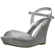 Rampage Women's Crissy Platform Ankle Strap Open Back Wedge Sandal