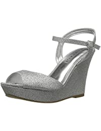 Women's Crissy Platform Ankle Strap Open Back Wedge Sandal