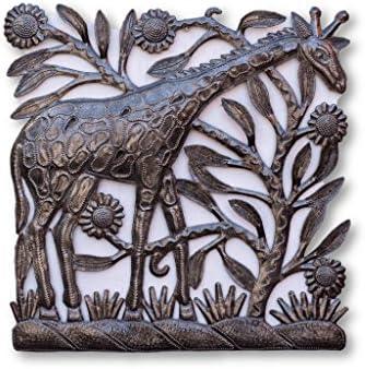 Metal Giraffe Recycled Wall Art, Handmade in Haiti, Decorative Home Sculpture 12.5 in. X 12.25 in.