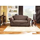 Sure Fit Stretch Leather 2-Piece - Loveseat Slipcover  - Brown (SF37335)